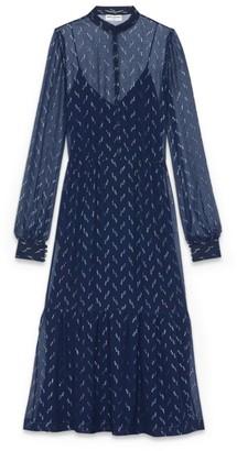 Saint Laurent Metallic-Detailed Lavalliere-Neck Maxi Dress