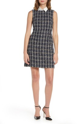 Brinker & Eliza Boucle Plaid Sequin Shirt Collar Dress