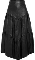 Saint Laurent Tiered Leather Skirt - Black