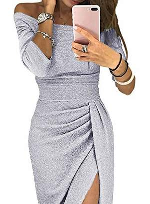 Actloe Womens Off Shoulder 3/4 Sleeve Sequined Party Midi Dress Ruched High Slit Formal Dress S