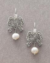 Pearl Bow Drop Earrings
