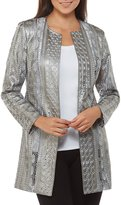 Peter Nygard Faux Leather Embroidered Long Jacket