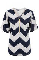 Quiz Grey and Navy Zig Zag Light Knit Zip Front Top