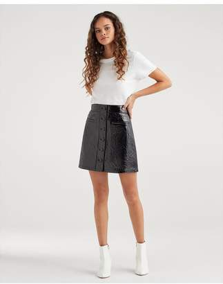 7 For All Mankind Button Front Leather Skirt In Jet Black