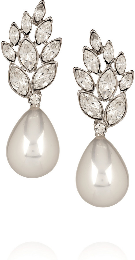 Kenneth Jay Lane Crystal and faux pearl drop earrings