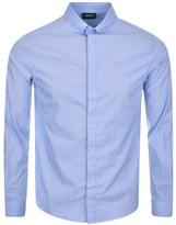 Giorgio Armani Jeans Long Sleeved Striped Shirt Blue