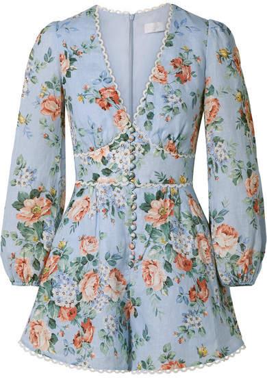 Zimmermann Bowie Crochet-trimmed Floral-print Linen Playsuit - Sky blue