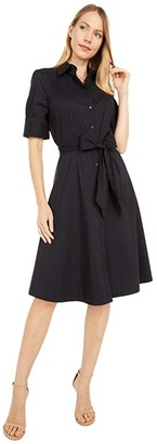 Lauren Ralph Lauren Belted Cotton Shirtdress (Black) Women's Clothing