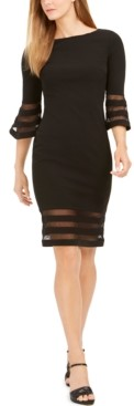 Calvin Klein Petite Illusion-Trim Sheath Dress