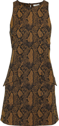 Joie Tonie Cotton-blend Snake-jacquard Mini Dress
