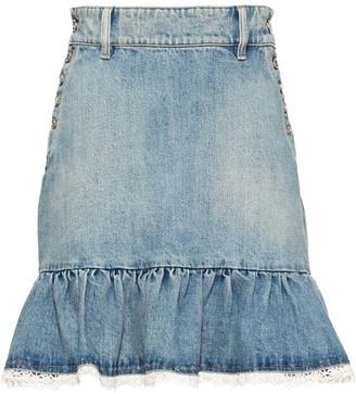 Miu Miu Ruffle-Trim Denim Skirt
