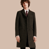 Burberry Velvet Collar Tailored Wool Blend Coat