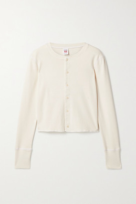 RE/DONE + Hanes 50s Cropped Cotton Cardigan - Cream