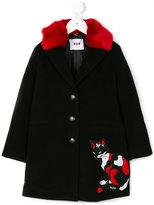 MSGM embroidered cat patch coat