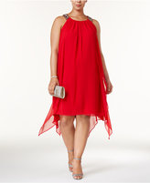 Xscape Evenings Plus Size Embellished Handkerchief-Hem Dress