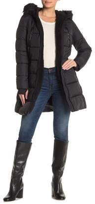 French Connection Faux Shearling & Faux Fur Trim Hooded Quilted Coat