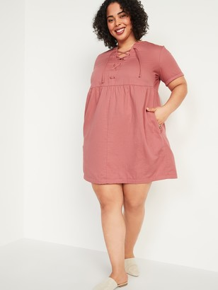 Old Navy Lace-Up Twill Plus-Size Shift Dress