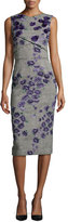 Jason Wu Sleeveless Floral-Embroidered Tweed Sheath Dress, Black/Iris