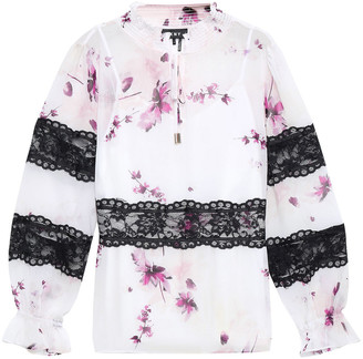 DKNY Lace-trimmed Printed Georgette Blouse