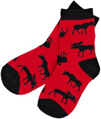 Hatley Boy's Moose On Red Crew Ankle Socks