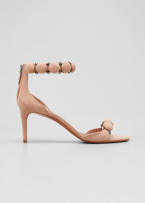 Alaia Bombe Stud Suede Ankle-Wrap Sandals