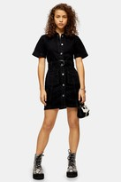 Topshop Washed Black Short Sleeve Denim Belted Shirt Dress