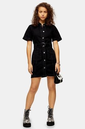 Topshop Womens Washed Black Short Sleeve Denim Belted Shirt Dress - Washed Black