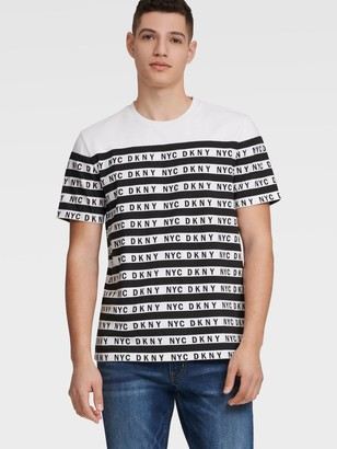 DKNY Men's Nyc Logo Stripe Tee - White - Size XS