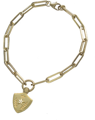 Foundrae Classic Fob Clip Chain with Per Aspera Ad Astra Crest Bracelet - Yellow Gold