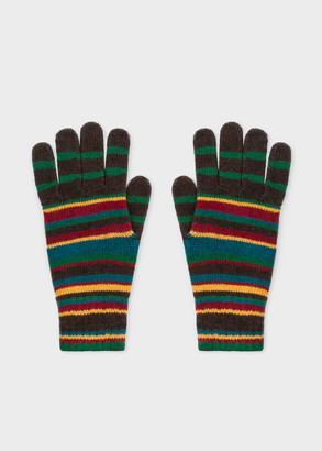 Men's Signature Stripe Wool-Cashmere Gloves