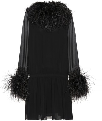Saint Laurent Feather-trimmed silk minidress