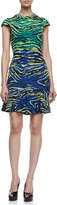 M Missoni Cap Sleeve Zebra Jacquard Dress, Multicolor