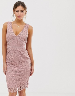 Paper Dolls v neck lace pencil dress in dusky pink