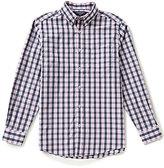 Roundtree & Yorke Trim-Fit Long-Sleeve Medium Plaid Sportshirt