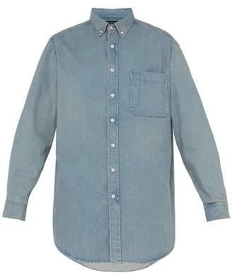 Balenciaga Logo-print Cotton-chambray Shirt - Mens - Light Blue