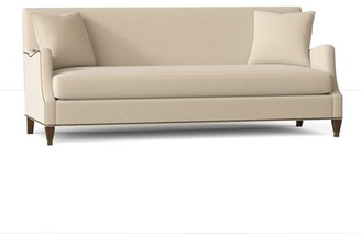 "Gabby Lincoln 83"" Recessed Arm Sofa Body Fabric: Avignon Ecru, Leg Color: Walnut, Nailhead Detail: Antique Brass, Cushion Fill: Ultra Plush"