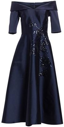 Teri Jon By Rickie Freeman Sequin Flower Off-The-Shoulder Midi Dress