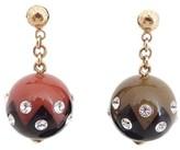 Louis Vuitton Goldtone Enamel Globe Pierce Earrings