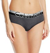 Calvin Klein Women's Magnetic Force Heathered Hipster Panty, Black Heather, Large