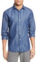Eleventy Men's Melange Slim Fit Chambray Sport Shirt