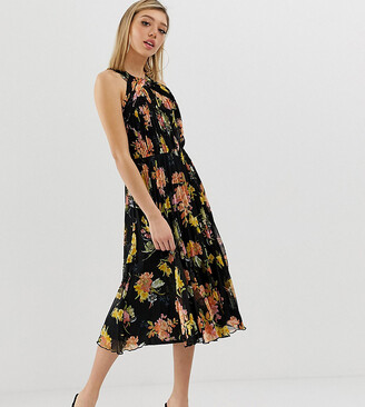 Asos DESIGN Petite pleated bodice halter midi dress in floral print