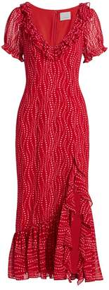 Cinq à Sept Michelle Printed Ruffle Midi Dress