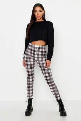 boohoo Tartan Check Basic Jersey Leggings