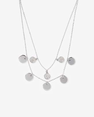 Express Two Row Cubic Zirconia Disc Drop Chain Necklace
