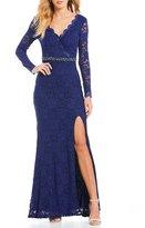 Jodi Kristopher Lace Beaded-Waist Long Dress