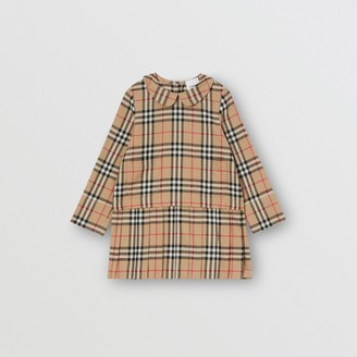 Burberry Childrens Peter Pan Collar Vintage Check Cotton Dress