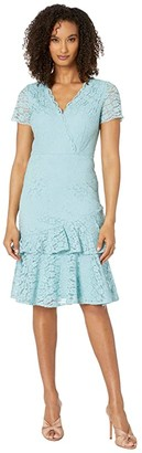 Adrianna Papell Felicity Lace Flounce Dress (Aqua Luster) Women's Dress