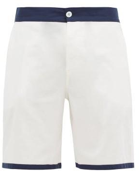 P. Le Moult - Contrast-trim Cotton-herringbone Pyjama Shorts - White