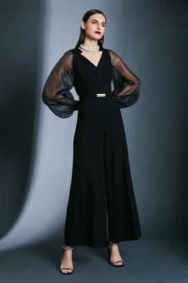 Karen Millen Structured Crepe Sheer Sleeve Jumpsuit