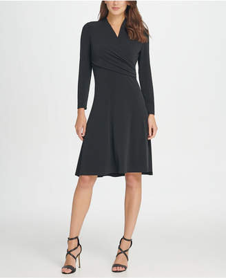 DKNY Long sleeve Jersey Side Ruche Fit & Flare Dress